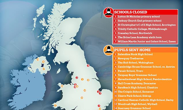 Eight UK schools shut down as 18 more send pupils and staff home over coronavirus fears