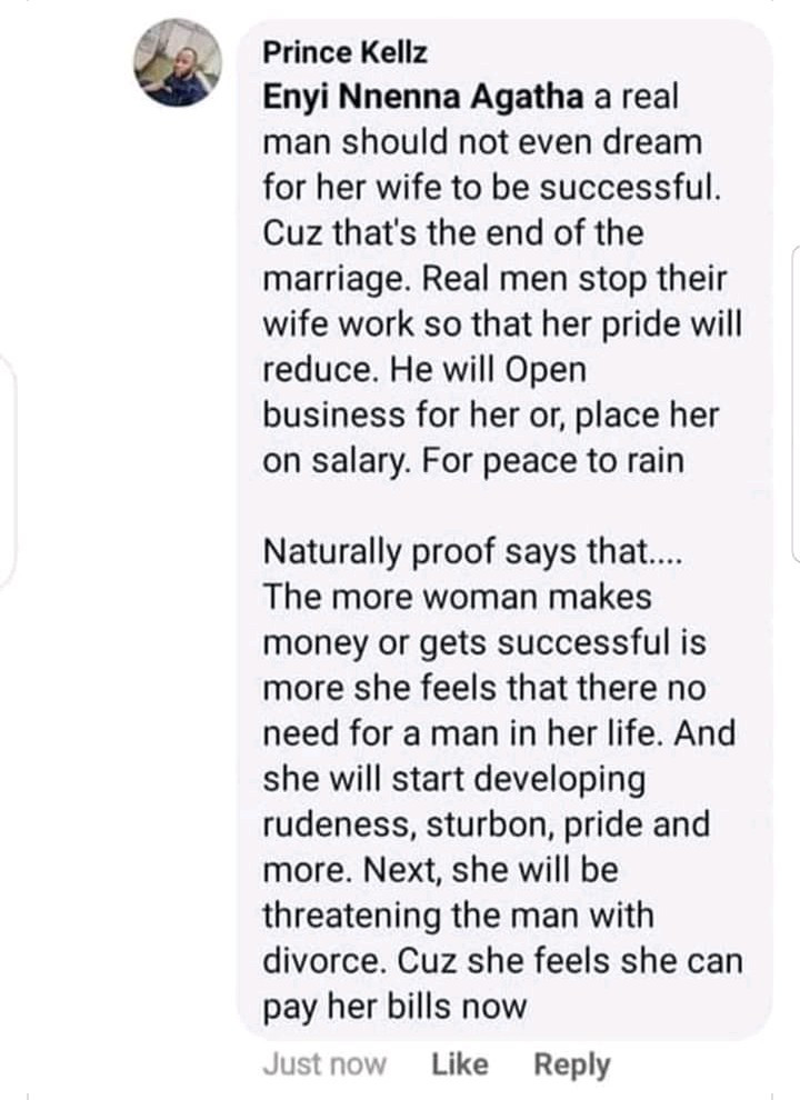 """""""A real man should not allow his wife to be successful"""" - Nigerian man says"""