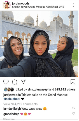 Jordyn Woods responds after she received backlash for wearing an abaya while visiting a mosque in Abu Dhabi