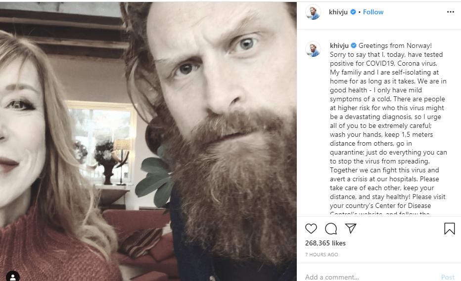 Game of Thrones actor, Kristofer Hivju tests positive for coronavirus