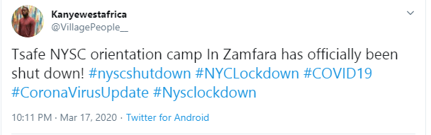 NYSC shuts down orientation camps after 8 days over coronavirus fears