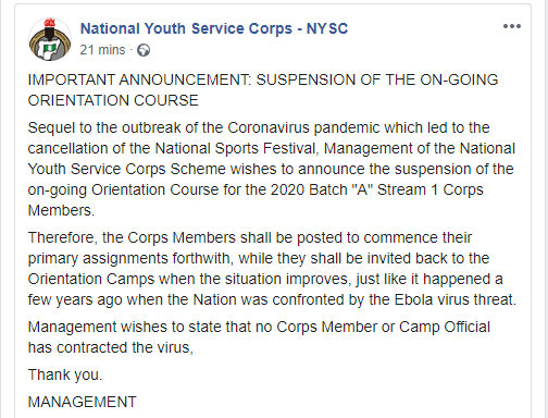 We suspended on-going orientation course due to coronavirus just like we did during ebola - NYSC