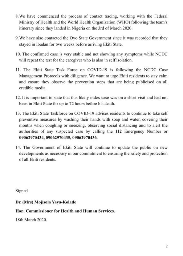 Ekiti state confirms its first case of Coronavirus