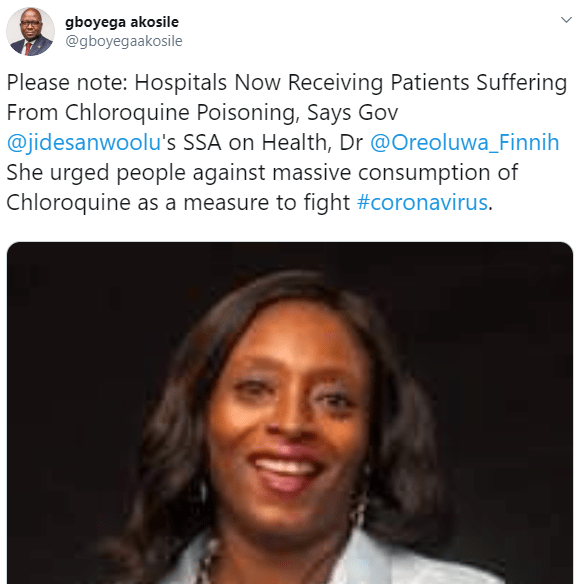 Coronavirus: We are now receiving patients suffering from Chloroquine poisoning- Lagos state government