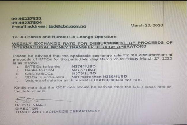 CBN devalues Naira, restores uniform exchange rate of N380/USD