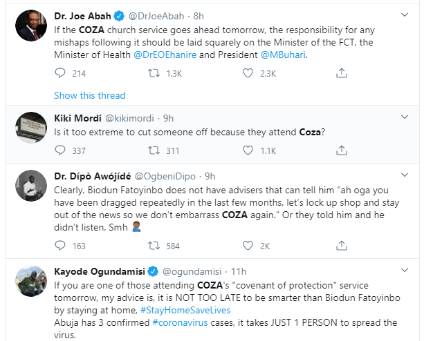 COZA dragged for holding church service amid increased cases of coronavirus in the country