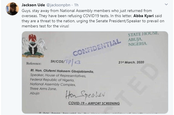 House of Reps members who returned from abroad allegedly refused to undergo coronavirus tests. See leaked letter from CoS Abba Kyari