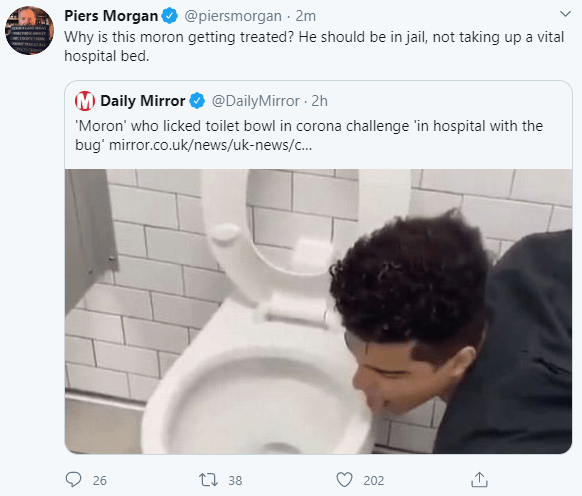 """Man who filmed himself licking a toilet bowl in the """"coronavirus challenge"""" is now sick in hospital with the deadly disease"""