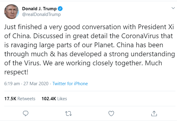 "Trump goes from calling COVID-19 the ""Chinese virus"" to ""Coronavirus"" and says the US and China are working together in the fight against the disease"