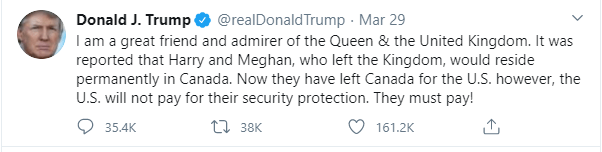 Harry and Meghan will pay for their own security in US - Trump announces as the royal couple make plans to permanently relocate to California