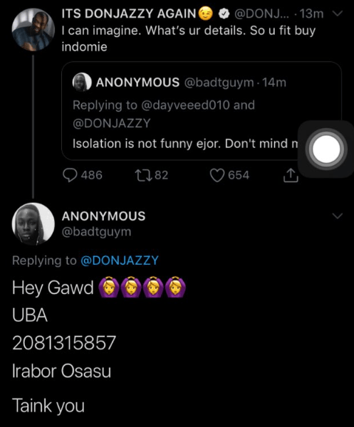Don Jazzy sends 100,000 Naira to a follower who insulted him online