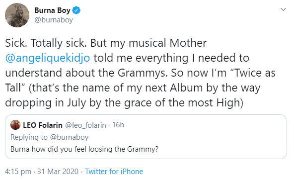 """Burna Boy reveals he felt """"totally sick"""" when he lost at the 62nd Grammy Awards"""