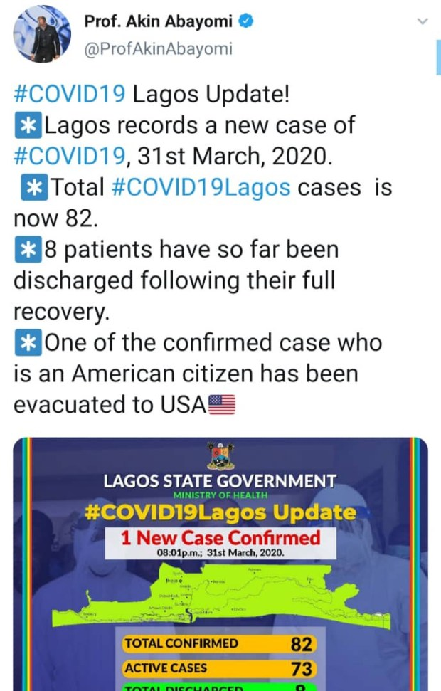 American who tested positive for Coronavirus in Lagos evacuated to the US