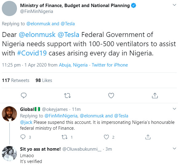 Nigerians express displeasure as the verified Twitter account of the Ministry of Finance begs Elon Musk for ventilators