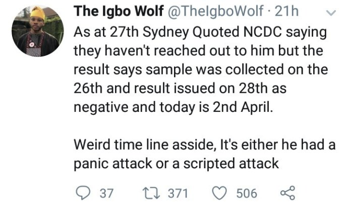 """5e871e51bdf0d Sydney Talker apologizes after he was called out for """"wasting"""" the NCDC's time by raising """"false"""" Coronavirus alarm"""