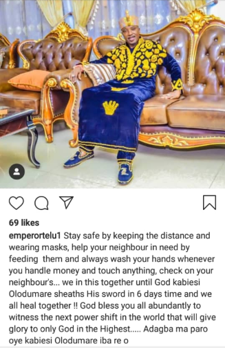 """Coronavirus: Oluwo of Iwo assures Nigerians that God will """"sheath his sword in 6 days time"""" and we will """"all heal together"""""""