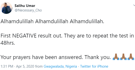 Remember the Nigerian man who came on Twitter to announce he is positive for COVID-19? He has tested negative