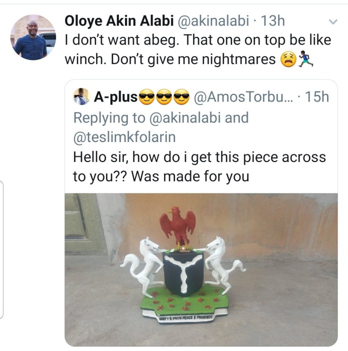House of Reps member, Akin Alabi savagely rejects Coat of arms gift made for him by a Nigerian artist
