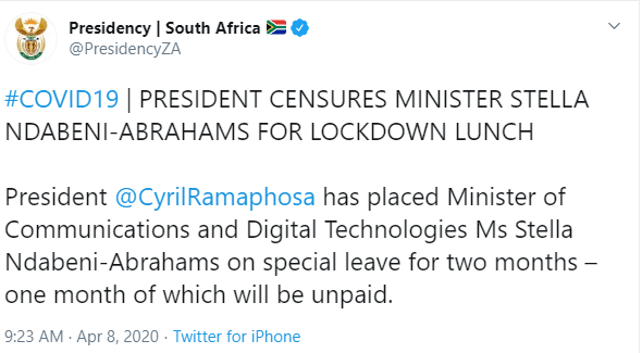 South African Minister for Communication placed on compulsory two months leave for attending lunch at a friend