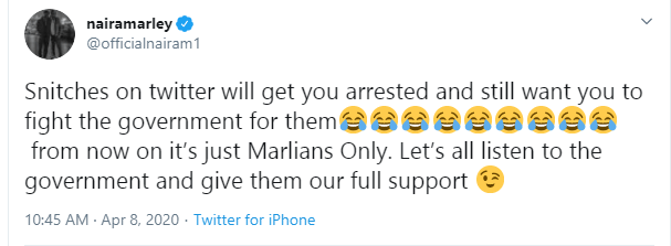 Snitches on Twitter will get you arrested and still want you to fight government- Naira Marley writes after arrest for attending Funke Akindele