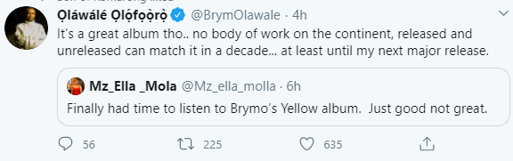 """Brymo responds to follower who said his album is """"not great"""""""