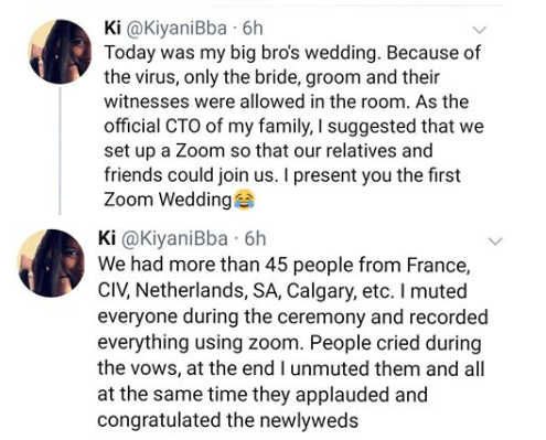Lockdown: Couple hold online wedding ceremony attended by their family members in different parts of the world (photo)