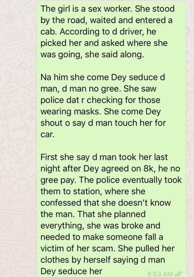 Prostitute allegedly confesses to lying against a cab man for money, after stripping to her underwear in Calabar (video)