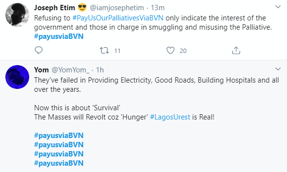 #PayUsViaBVN trends as Nigerians ask FG to pay palliatives directly into their bank accounts