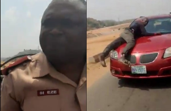 FRSC reacts to viral video of lady who was almost assaulted by one of its officials for speeding off with policeman on her car's bonnet