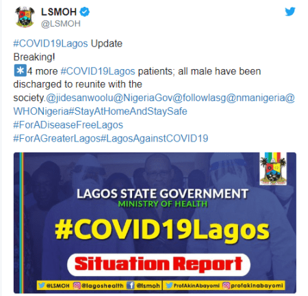Lagos Discharges Four Coronavirus Patients