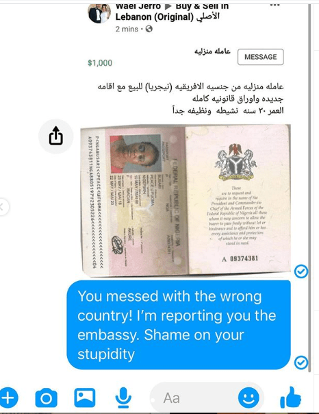 Lebanese national allegedly puts up a Nigerian lady for sale in Lebanon