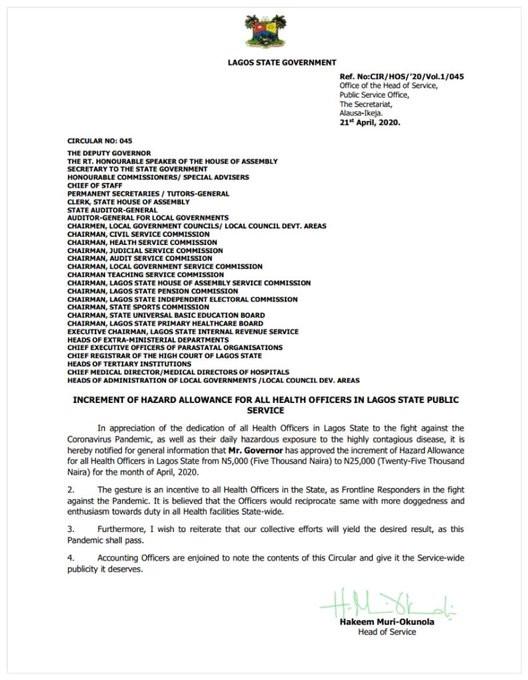 Governor Sanwo-Olu increases Lagos health workers