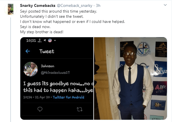Nigerian man narrates how his younger brother committed suicide after alleged inhumane treatment by SARS operatives