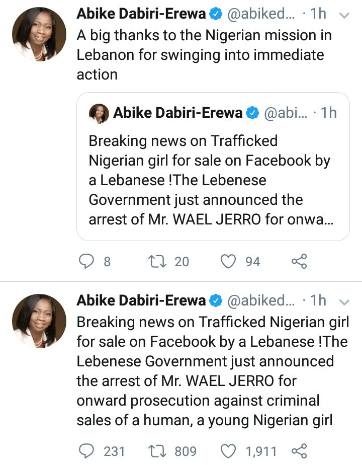 Lebanese who advertised Nigerian woman for sale has been arrested by the Lebanese government