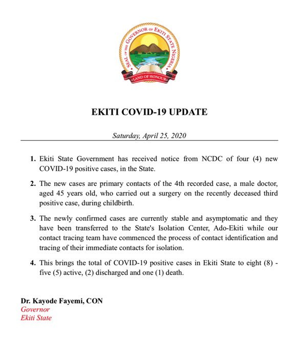 4 News Cases Of Coronavirus Confirmed In Ekiti State Lindaikejisblog 1