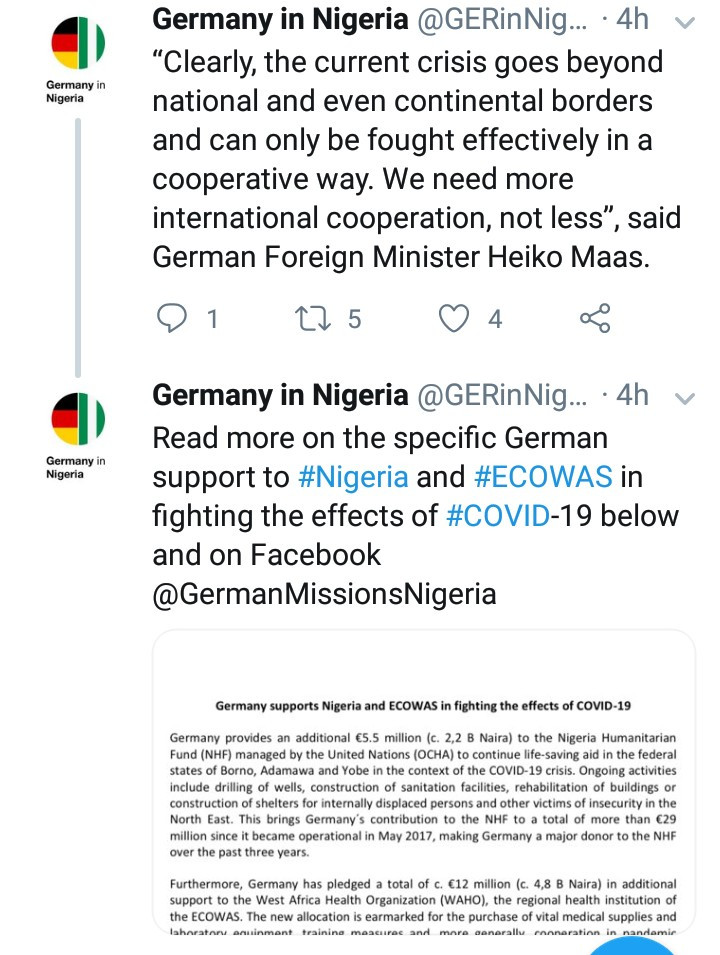 Germany donates additional ?5.5m to Nigeria to support in its response to the Coronavirus pandemic