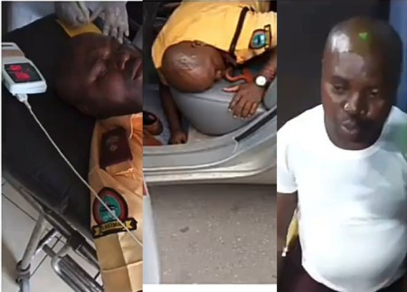 LASTMA official allegedly beaten to coma by police officer while on duty in Apapa (video)