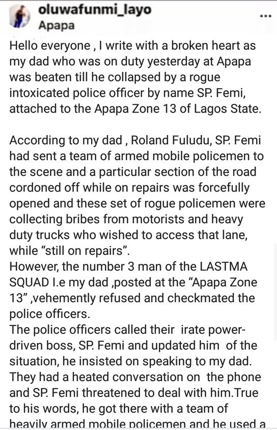 LASTMA official allegedly beaten to coma by police officer while on duty in Apapa (video)  LASTMA official allegedly beaten to coma by police officer while on duty in Apapa (video) 5ebab471061e8