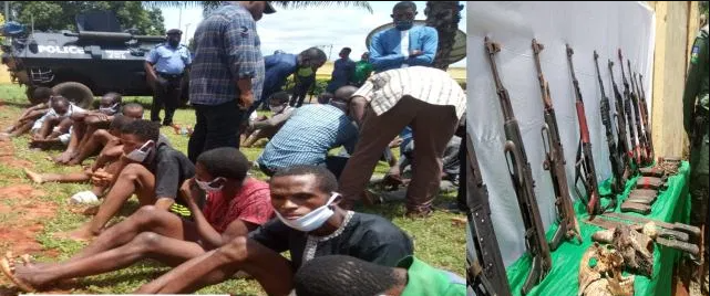Human skull and AK-47 rifles recovered from IPOB training camps in Delta