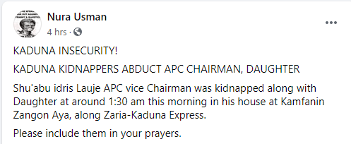 Kaduna APC vice chairman and daughter kidnapped