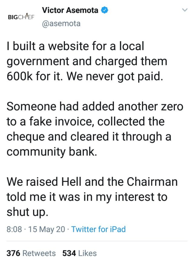 Victor Asemota narrates how he was threatened with a gun for demanding to be paid after building website for a local government chairman