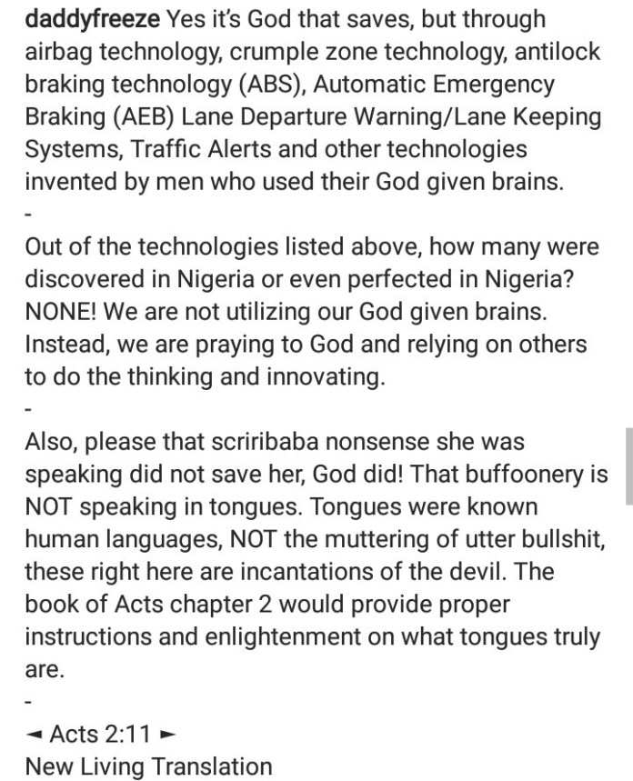 """Daddy Freeze clashes with his followers after saying woman who survived accident and broke into tongues was speaking """"the tongues of demons"""""""