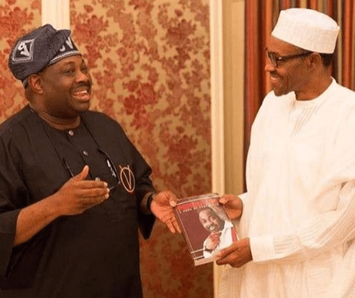 President Buhari rejoices with Dele Momodu at 60