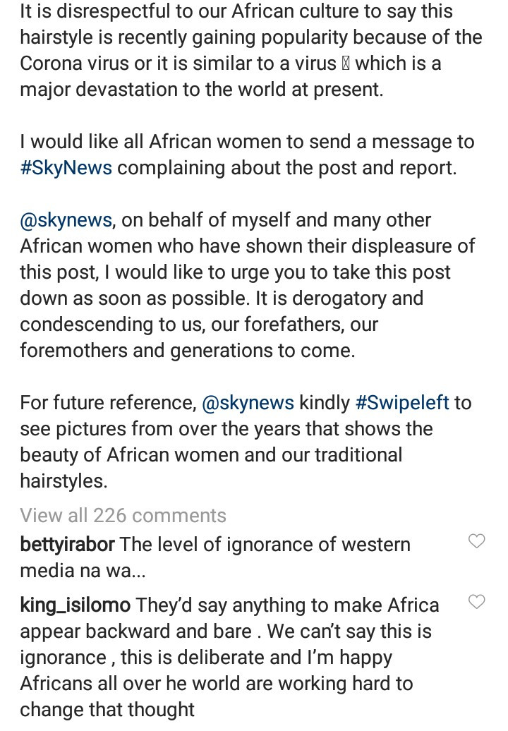 Mo Abudu condemns Sky News and demands that they take down a post where they referred to thread hairstyle as new Coronavirus haircut
