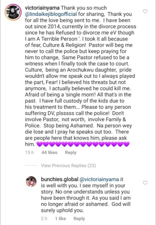 """5ebff443c5b3d """"Don't involve pastor. Involve family and police"""" Victoria Inyama advices victims of domestic abuse as she shares more personal details about her marriage"""