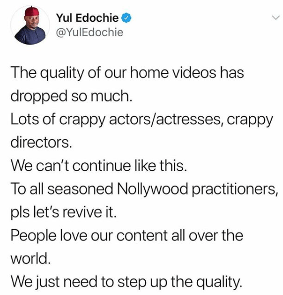Yul Edochie Says The Quality Of Nigeria's Home Videos