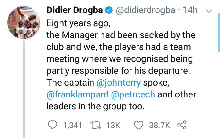 """Always believe"" Didier Drogba shares emotional story about how his teammate helped him win the Champions League with only 8 minutes to go"