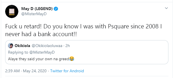 Musician May D Reveals That While With Psquare That He Slept On A Carton And Shared A Room With Driver And Cook