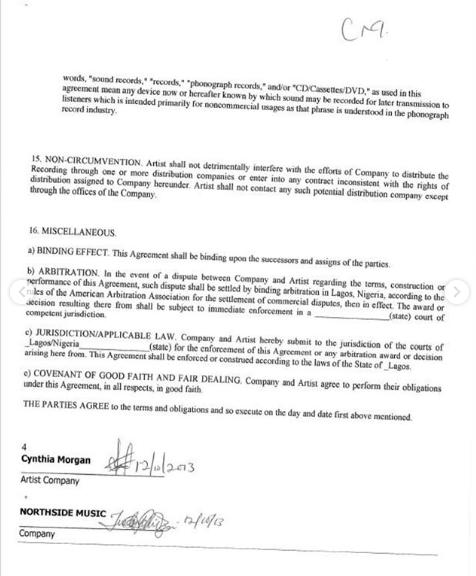 Here is the contract between Cynthia Morgan and Jude Okoye