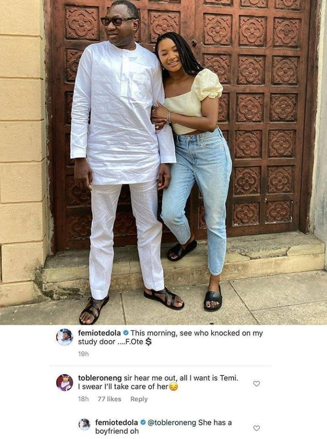 Femi Otedola responds to a follower who indicated interest in dating his daughter Temi Otedola